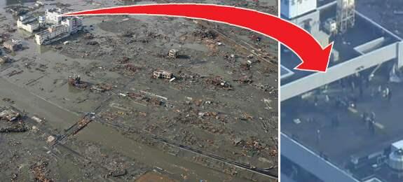 Ett tiotal personer räddade upp på ett tak, runt om dem tog tsunamin allt i sin väg. Foto: AP