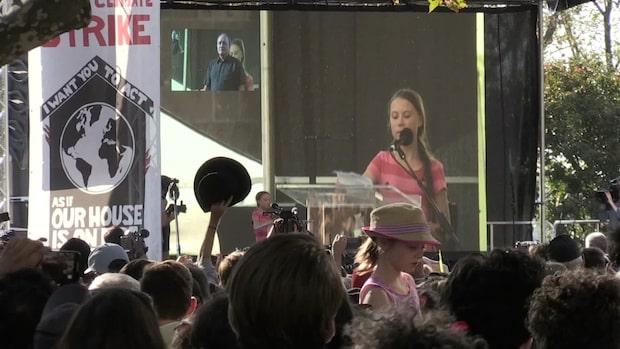 Greta Thunberg talade vid klimatdemonstration