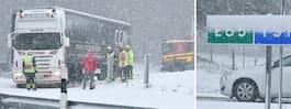 Flera olyckor i trafiken under kraftiga snöfallet