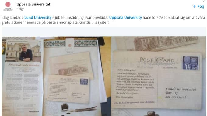 När Lunds universitets jubileumstidning i veckan kom hade Uppsala universitet försäkrat sig om att deras gratulationer hamnade på bästa annonsplats. Foto: UPPSALA UNIVERSITET