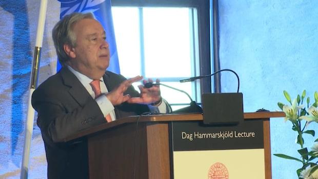"""António Guterres stora hyllning till Sverige: """"En djup tacksamhet"""""""