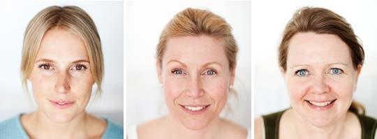 Karin Persson, Isabel Kaiser och Lillian Jansson får råd om hur de ska ta hand om deras hy.