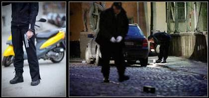 Skytten sågs försvinna i väg på en gul vespa efter skotten i Gamla stan. Nu är han anhållen för mordförsök.