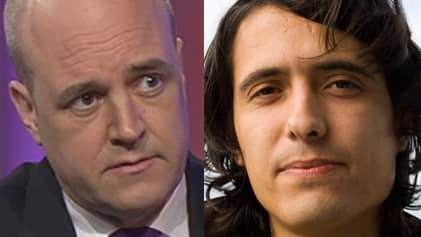 Fredrik Reinfeldt och Jonas Hassen Khemiri. Foto: SVT