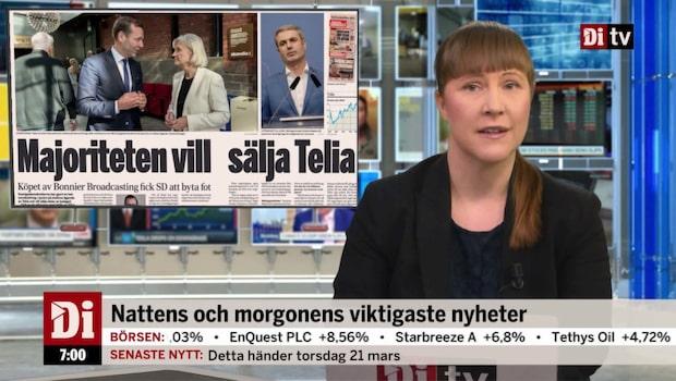 Morgonkoll: SD vänder om att sälja Telia