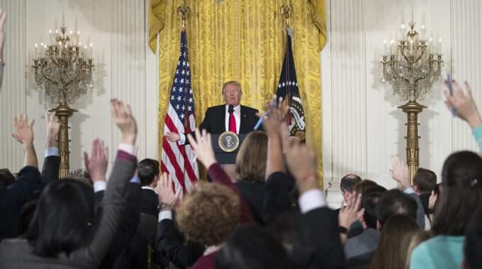 USA:s president under en omtalad presskonferens tidigare i veckan. Foto: Shawn Thew / Epa / Tt / EPA TT NYHETSBYRÅN