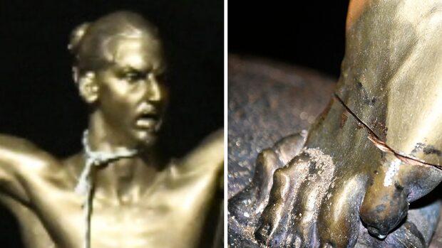 Zlatan-statyn riskerar att rasa efter en sågattack