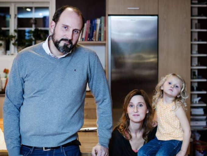 Peter Grembäck med hustrun Emma och dottern Lisa. Foto: Hampus Lundgren