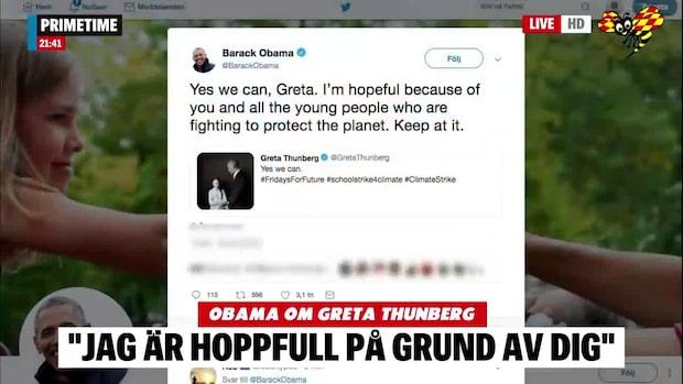 Barack Obama hyllar Greta Thunberg på Twitter