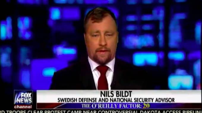 """Nils Bildt, tidigare Nils Tolling, intervjuades i Fox News som """"svensk rådgivare i försvar och nationell säkerhet."""""""