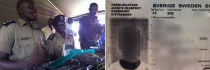 """18-åringen greps i Uganda. """"Så fort vi stoppade in hans pass i vår skanner kom hans namn upp på skärmen som efterlyst för terrorism"""", säger polisofficeren Ssekate (till vänster). Den 18-åringen fick ett svenskt pass i slutet av november. En månad senare flög han till Uganda - där han ett par dagar senare greps misstänkt för terrorism. Foto: KASSEM HAMADÉ"""