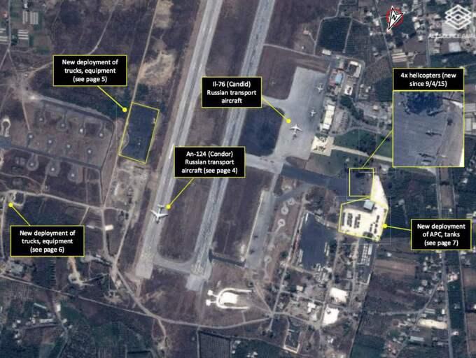 Den här satellitbilden visar Rysslands närvaro på flygbasen i Latakia.