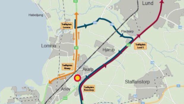 E6 stängs av utanför Malmö i två veckor