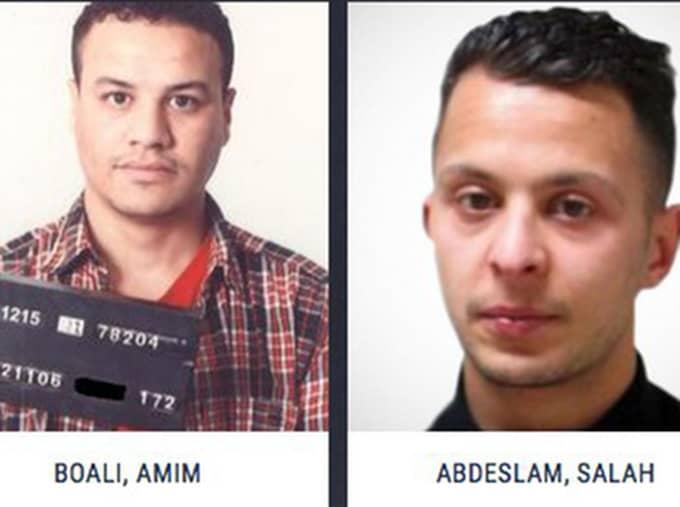 Amim Boali, 23, (till vänster) jagas för ett mord i en föreningslokal i Malmö juldagen 2014. Hans ansikte syns sida vid sida med Salah Abdeslam, som jagas efter Parisdåden i november. Foto: Europol