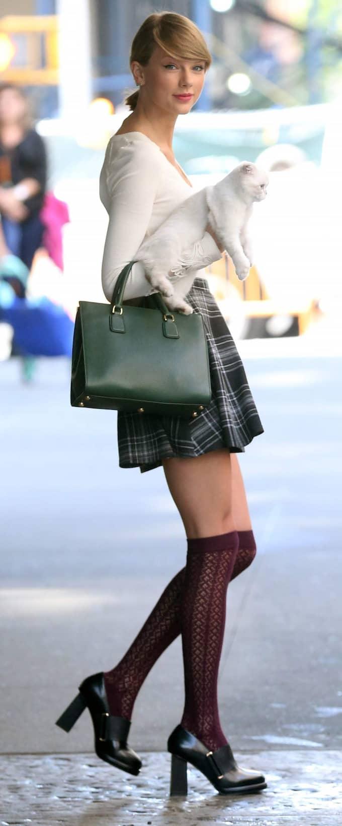 Kattwalk 2. Taylor Swift klädd för påpassliga fotografer och en promenad med sitt nya husdjur, snyggt stylad från topp till tå.