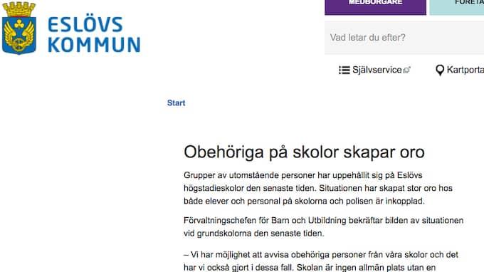 På sin hemsida redogör Eslövs kommun för problemet och hur för försöken att komma till rätta med det. Foto: SKÄRMDUMP