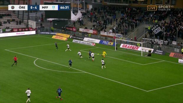 Rosenberg sätter sitt andra mål i matchen – 5–0 för MFF