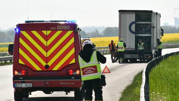 Olycka inträffade 09.37. Foto: Mikael Nilsson