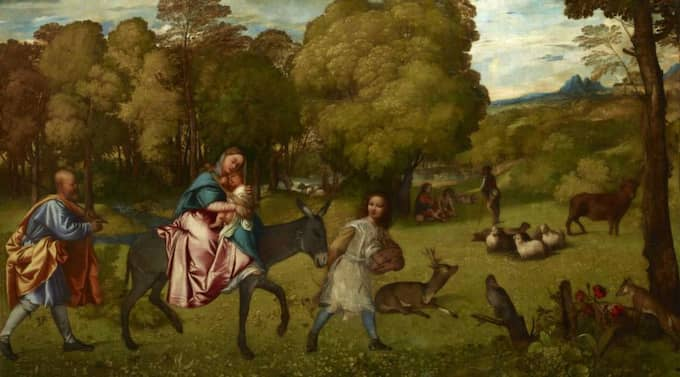 """Historisk vandring. Tizians """"La fuga in Egitto"""" (Flykten till Egypten) omkring 1509. (Bilden är något beskuren)."""