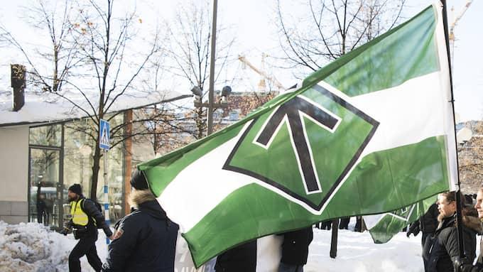 Nazistiska Nordiska motståndsrörelsens demonstrerar i Stockholm 8/4-2017 Foto: Sven Lindwall