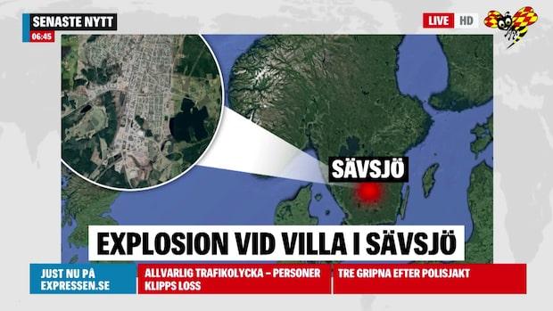 Explosion vid villa i Sävsjö – två personer i huset