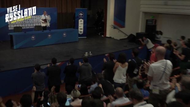 Doldisen får stående ovationer under Frankrikes presskonferens