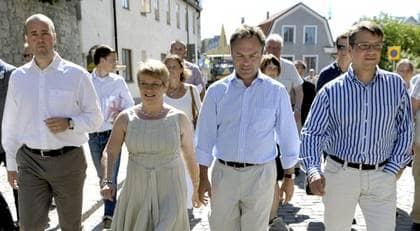 Fredrik Reinfeldt, Maud Olofsson, Jan Björklund och Göran Hägglund är inte eniga om skolpolitiken. Foto: Scanpix