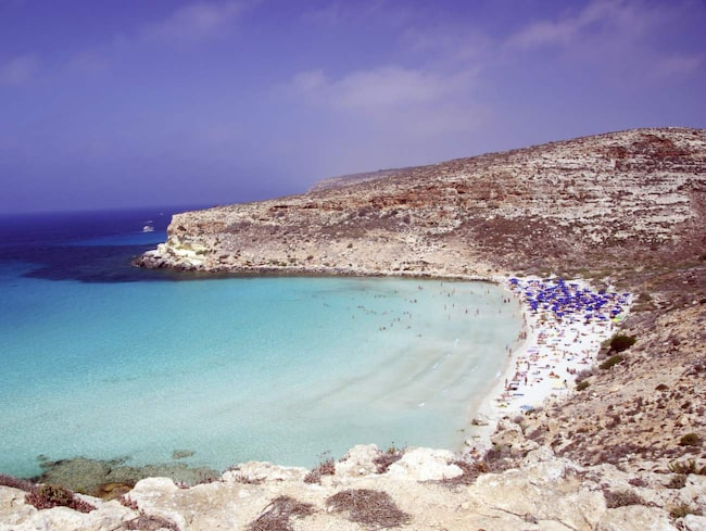 Rabbit Beach, Lampedusa, Sicilien.
