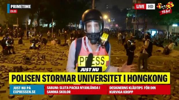 Poliser stormade universitet i Hongkong