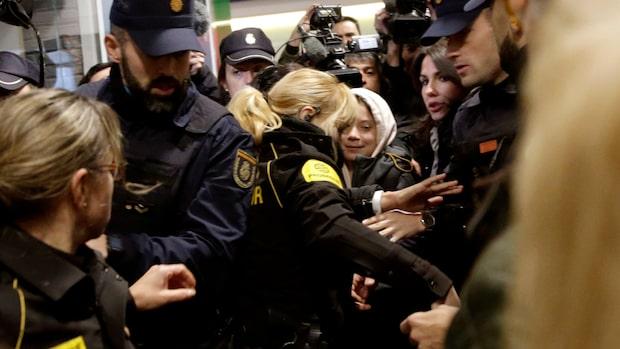 Stor uppståndelse när Greta Thunberg anlände till Madrid