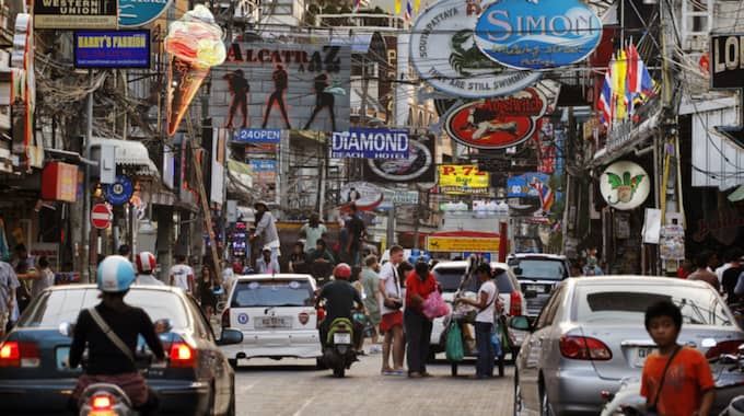 Det var på den populära turistorten Pattaya pensionärerna greps i razzian. Foto: Cornelia Nordström