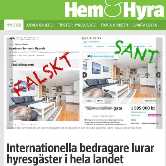 Granskningen i tidningen Hem & Hyra visar flera exempel på falska bostadsannonser med bilder från verkliga bostäder, ofta i en helt annan del av Sverige. Foto: Skärmdump