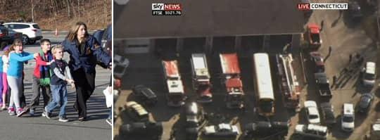 Flera barn uppges ha skadats och flera dödats under skottlossning i Newton. Foto: AP och Sky news