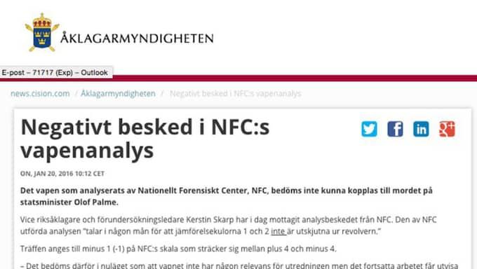 Pressmeddelandet från Åklagarmyndigheten om vapenanalysen.