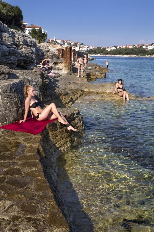 Bad från klipporna på hotellhalvön Verudela utanför Pula.