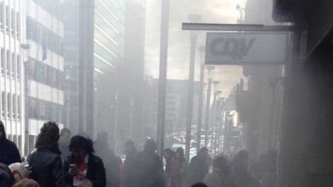 Osama Krayem syntes på övervakningsbilder tillsammans med självmordsbombaren Khalid el-Bakraoui strax innan han detonerade sin sprängladdning i tunnelbanestationen Maalbeek i Bryssel. Foto: NO CREDIT/EPP