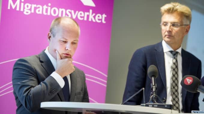 Migrationsminister Morgan Johansson och Migrationsverkets Anders Danielsson. Foto: Christian Örnberg