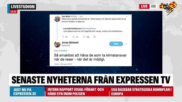 Jonas Sjöstedt ryter till mot Carl Bildt på Twitter