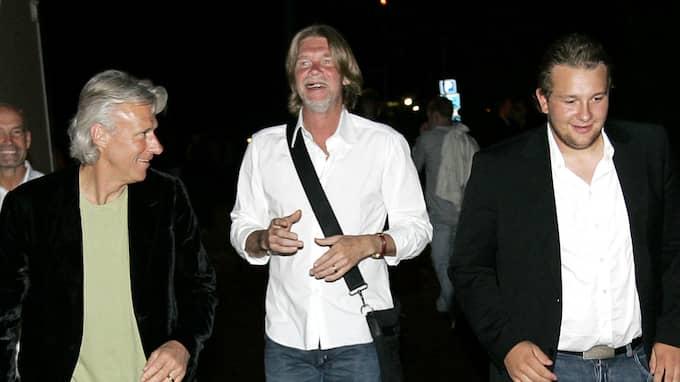 Robin Borg till höger, med pappa Björn Borg och Glenn Strömberg. Foto: SVEN LINDWALL