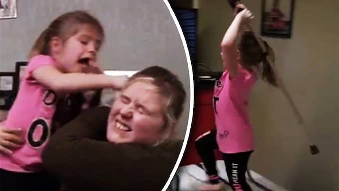 Här går flickan till attack mot sin mamma. Foto: Channel Five