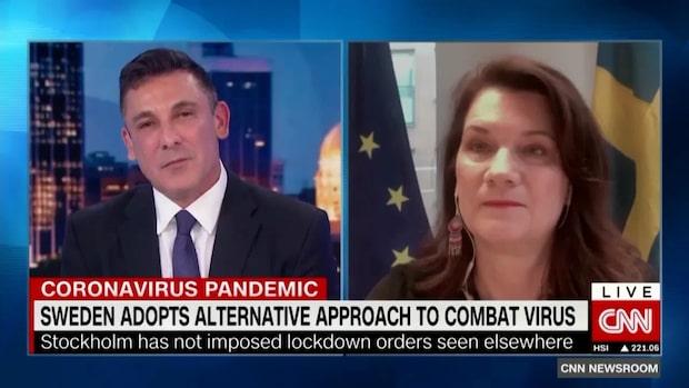 Här försvarar Ann Linde Sveriges coronastrategi i CNN