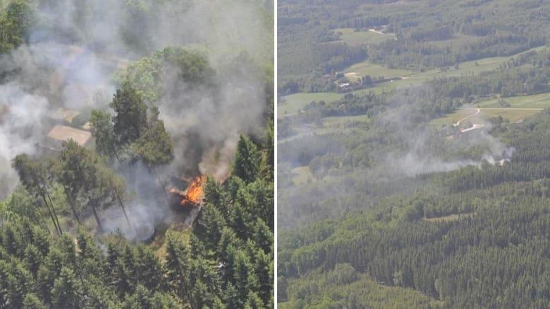 Ett patrullerande brandflyg larmade under onsdagen att det brann i