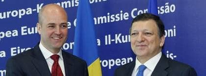 Fredrik Reinfeldt träffar EU-kommissionens ordförande José Manuel Barroso. Foto: AP