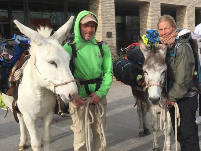 Helena Kågemark, Carlo Magnani och två åsnor har vandrat från Italien till Göteborg. Foto: Vanessa Destramau