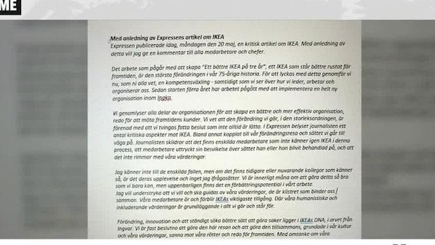 """Ikea-chefens brev: """"Tvingas fatta beslut som inte är lätta"""""""