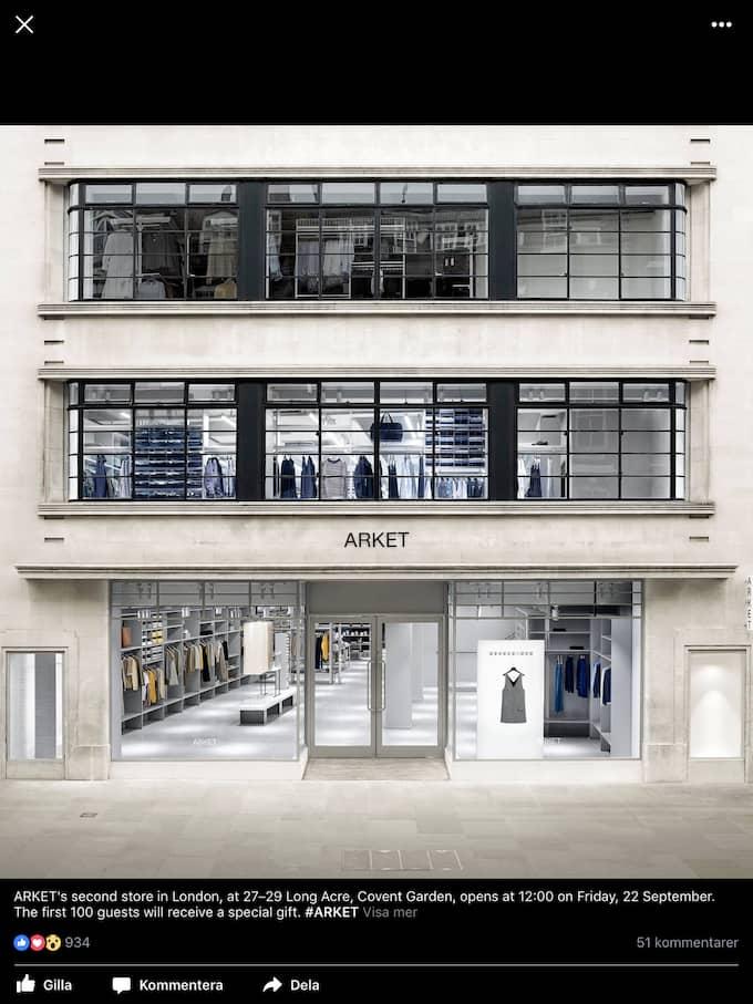 H&M:s Arketbutik i Covent Garden i London.