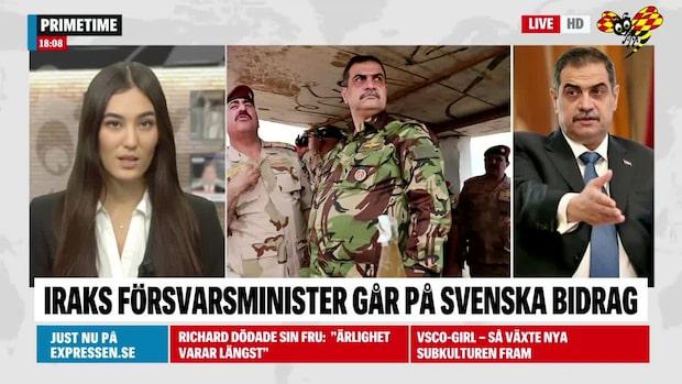 Iraks försvarsminister får bidrag i Sverige