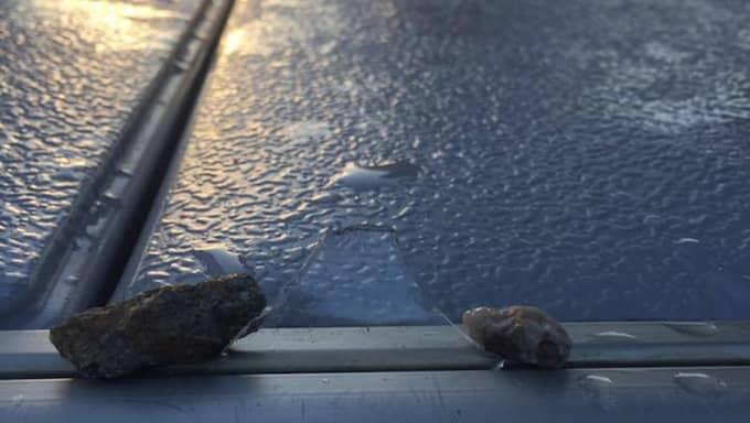Glasbiten låg fastkilad i bryggan mellan två stenar. Foto: PRIVAT