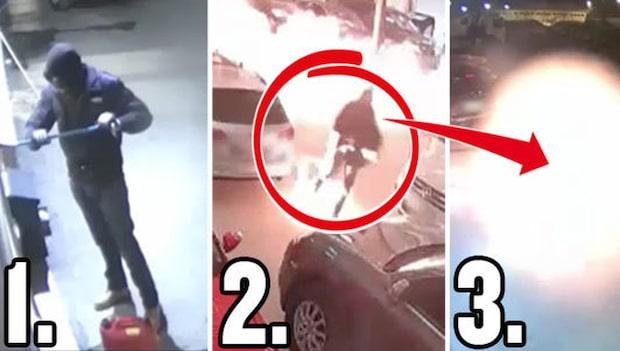 Mannen tänder eld på bilar för miljoner – och sig själv