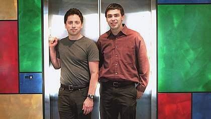 """Larry Page och Sergej Brin har båda blivit mångmiljardärer på sitt Google - men på jobbet är dras framtoning snarare """"två i gänget"""" än """"ouppnåeliga chefer."""" Foto: Richard Koci Hernandez"""